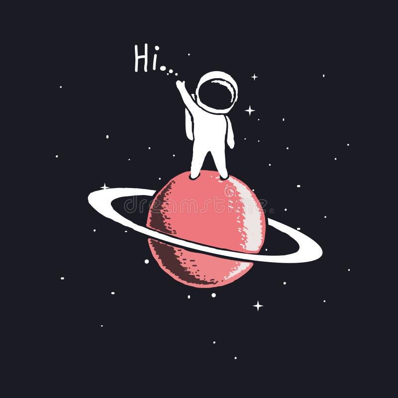 Estada do astronauta em Saturn ilustração do vetor