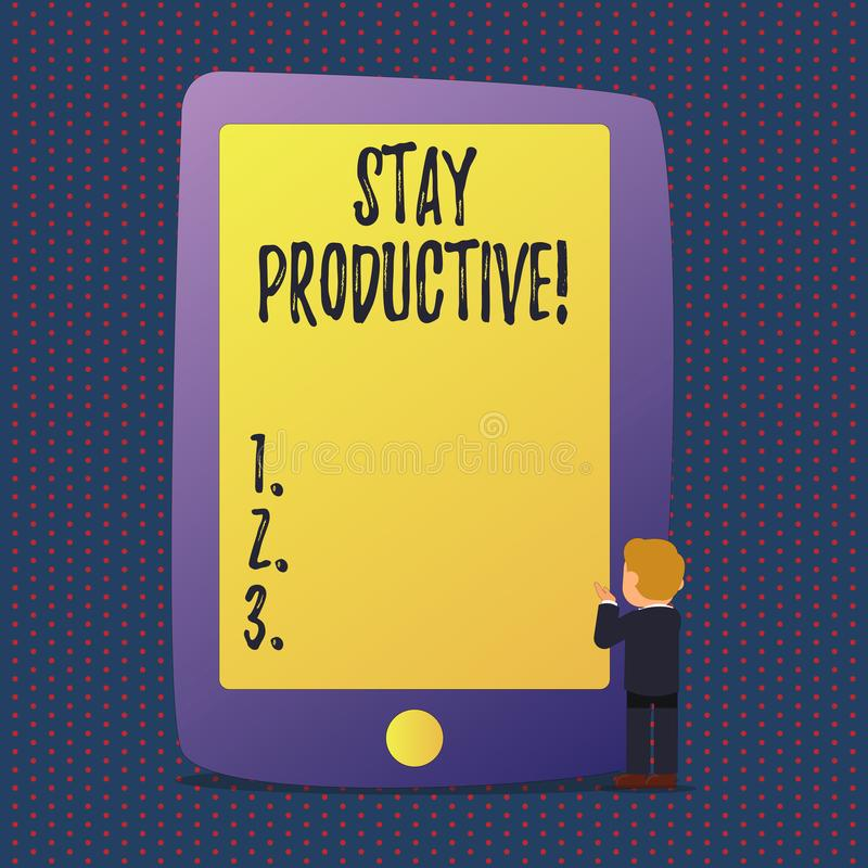 Estada do texto da escrita produtiva Conceito que significa a produtividade da concentração da eficiência ilustração royalty free