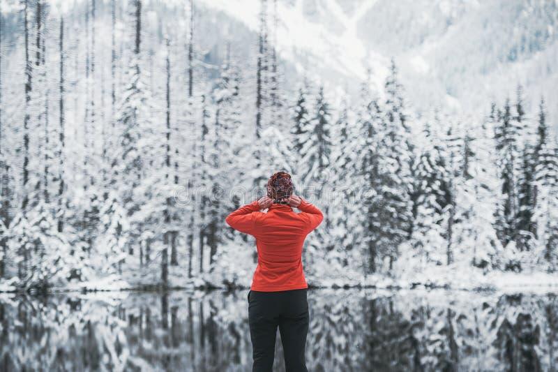 Estada do viajante da jovem mulher no lago da montanha da neve Vista traseira imagem de stock royalty free
