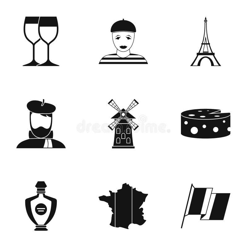 A estada em ícones de França ajustou-se, estilo simples ilustração stock