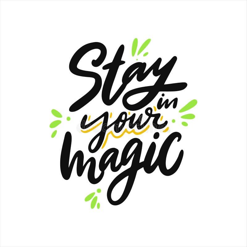 Estada em sua mágica Rotula??o tirada m?o do vetor Cita??es inspiradas inspiradores ilustração do vetor