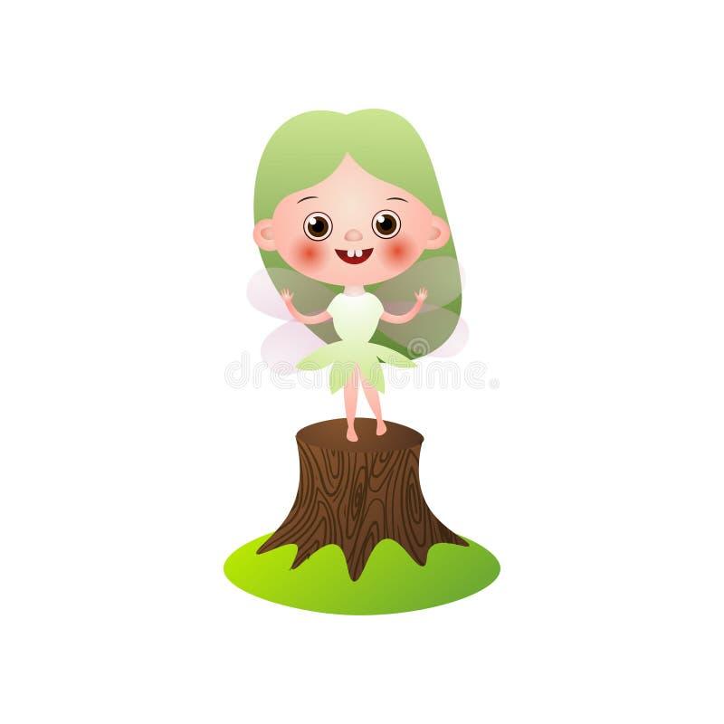 Estada feericamente de sorriso da menina do cabelo verde no coto de árvore ilustração royalty free