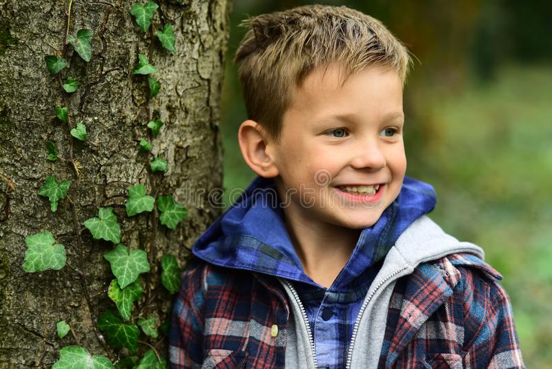 Estada positiva e feliz Aprecie jogos da infância Sorriso feliz do rapaz pequeno na árvore Rapaz pequeno com sorriso adorável Sej foto de stock royalty free