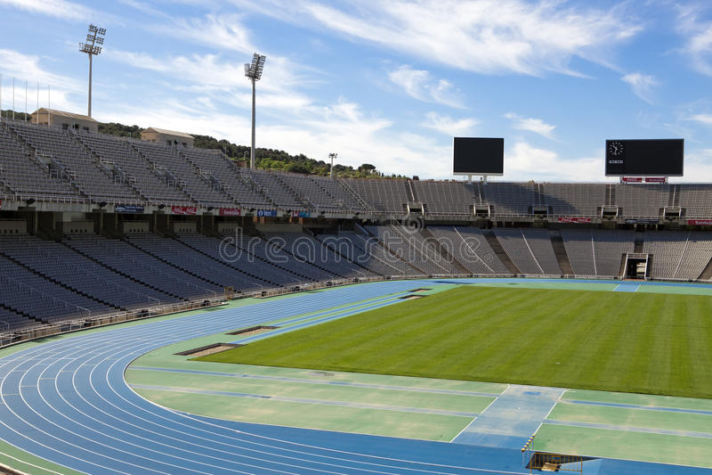 Estadi Olimpic Lluis Companys (Barcelona Olympic Stadium) on May 10, 2010 in Barcelona, Spain. stock photo