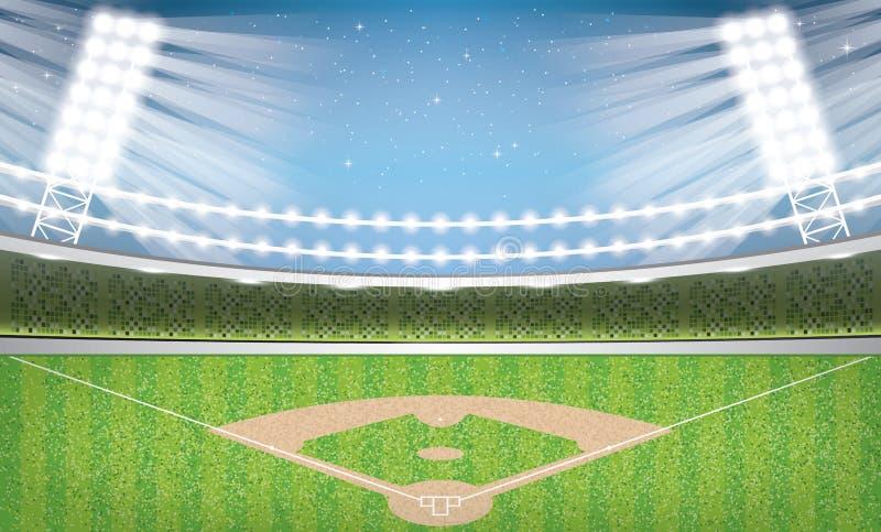 Estadio de béisbol con las luces de neón arena ilustración del vector