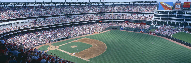 Estadio de béisbol, Orioles de Baltimore de las Texas Rangers v Baltimore Orioles, Dallas, Tejas foto de archivo libre de regalías