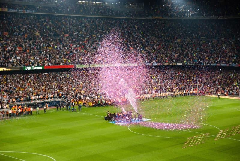 Estadio de Camp Nou después del partido contra Osasuna imagen de archivo