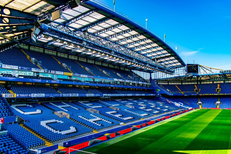 Estadio de fútbol del puente de Stamford para Chelsea Club imagen de archivo libre de regalías