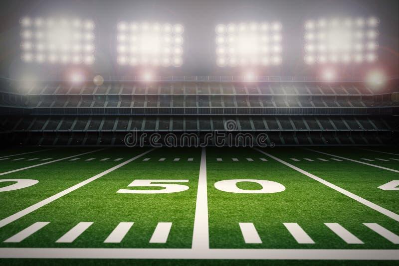 Estadio de fútbol americano vacío en la noche ilustración del vector