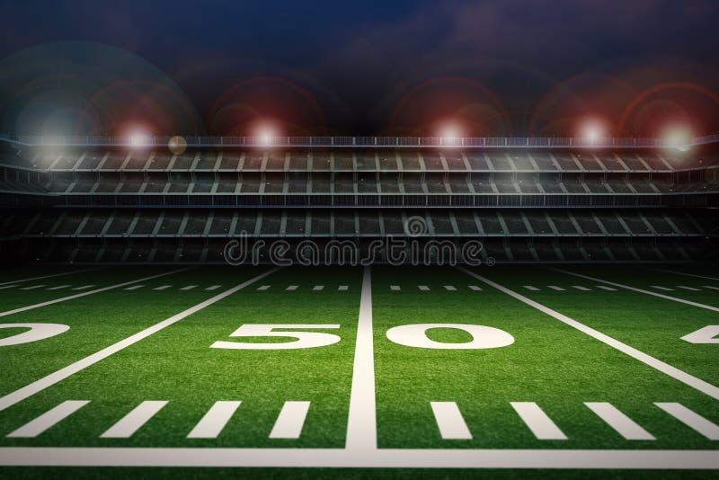 Estadio de fútbol americano vacío en la noche stock de ilustración