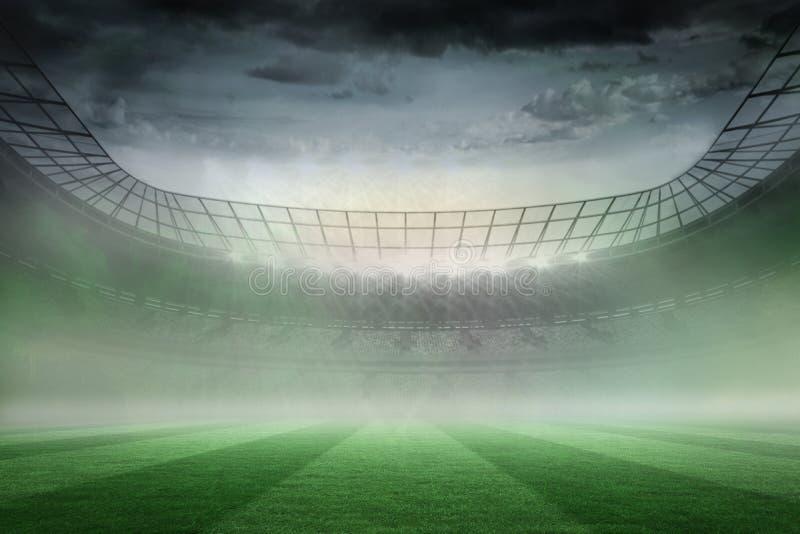 Estadio de fútbol brumoso debajo de proyectores ilustración del vector