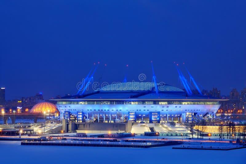 Estadio de fútbol en St Petersburg, Rusia para el mundial del fútbol imagen de archivo libre de regalías