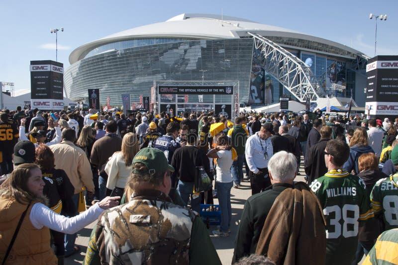 Estadio de los vaqueros, Superbowl XLV, ventiladores en el Super Bowl fotos de archivo libres de regalías