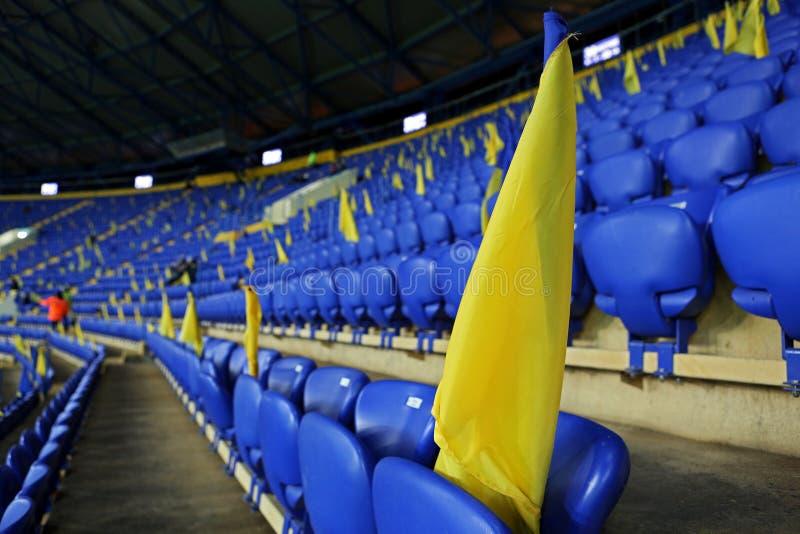 Estadio de Metalist Járkov listo para recibir el partido de fútbol imagen de archivo