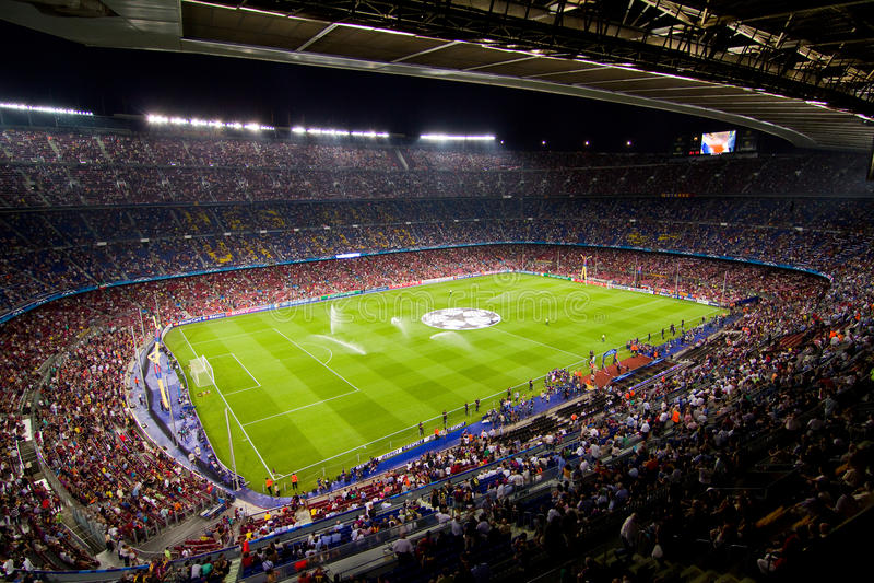 Estadio de Nou del campo, Barcelona foto de archivo libre de regalías