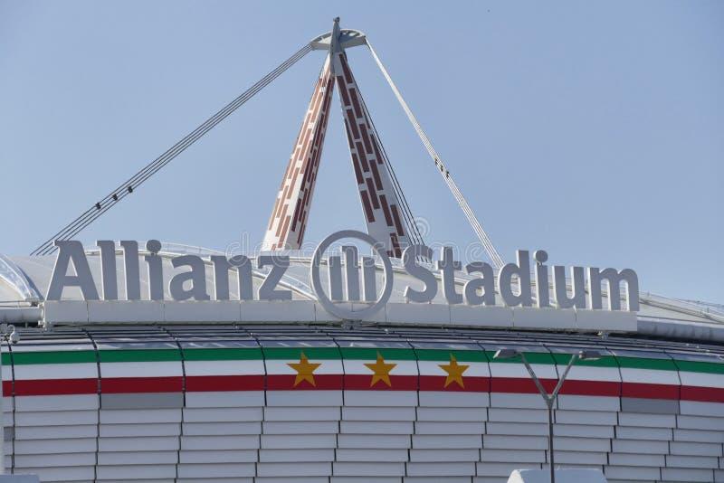 Estadio del fc de Juventus patrocinado por Allianz imagen de archivo libre de regalías