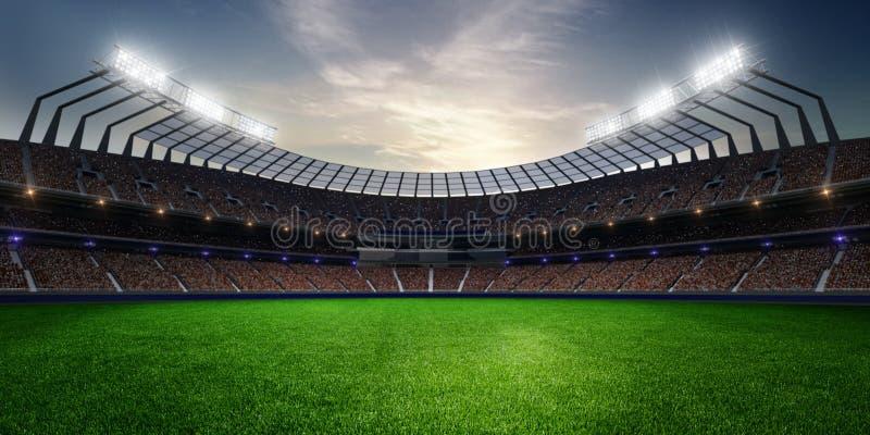 Estadio en puesta del sol con las fans de la gente 3d rinden la ilustración libre illustration
