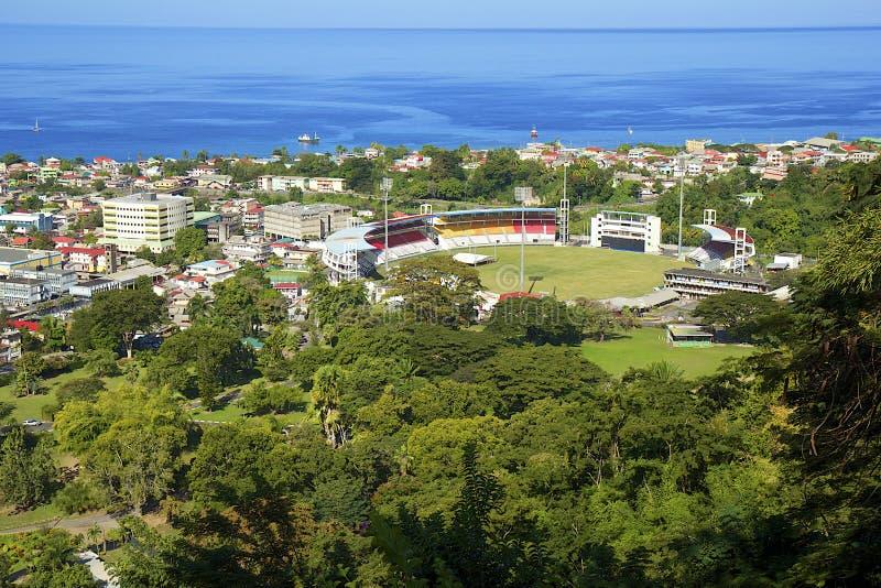 Estadio en Roseau, Dominica foto de archivo libre de regalías