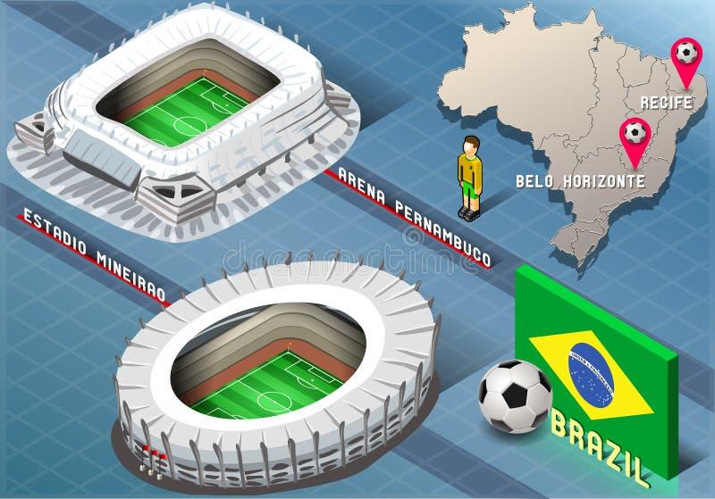 Estadio isométrico de Recife y de Belo Horizonte, el Brasil stock de ilustración