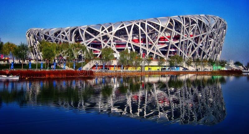 Estadio nacional Pekín de la jerarquía del ` s del pájaro imagenes de archivo