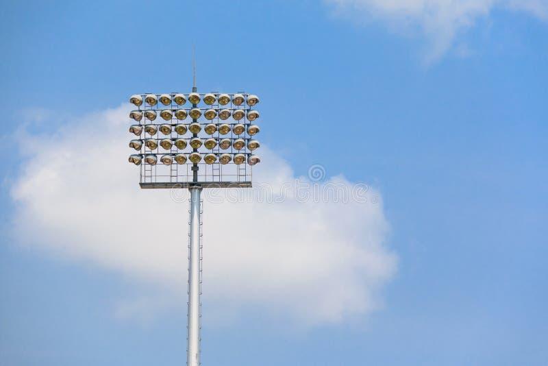 Estadio postes ligeros imagen de archivo