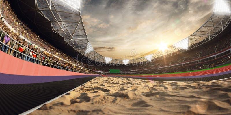 Estadio y fans Pista para saltar Campo de la arena ilustración 3D stock de ilustración