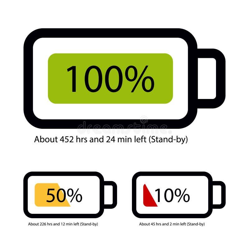 Estado da bateria completamente, meio e vazio - ícones do vetor ilustração stock