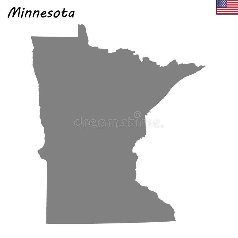 Estado de alta calidad del mapa de Estados Unidos stock de ilustración