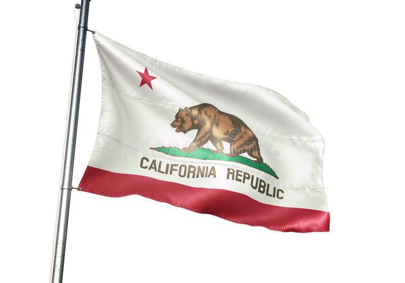 Estado de Califórnia de ondulação da bandeira do Estados Unidos isolado na ilustração 3d realística do fundo branco ilustração royalty free