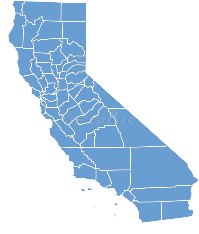 Estado de Califórnia por condados ilustração royalty free