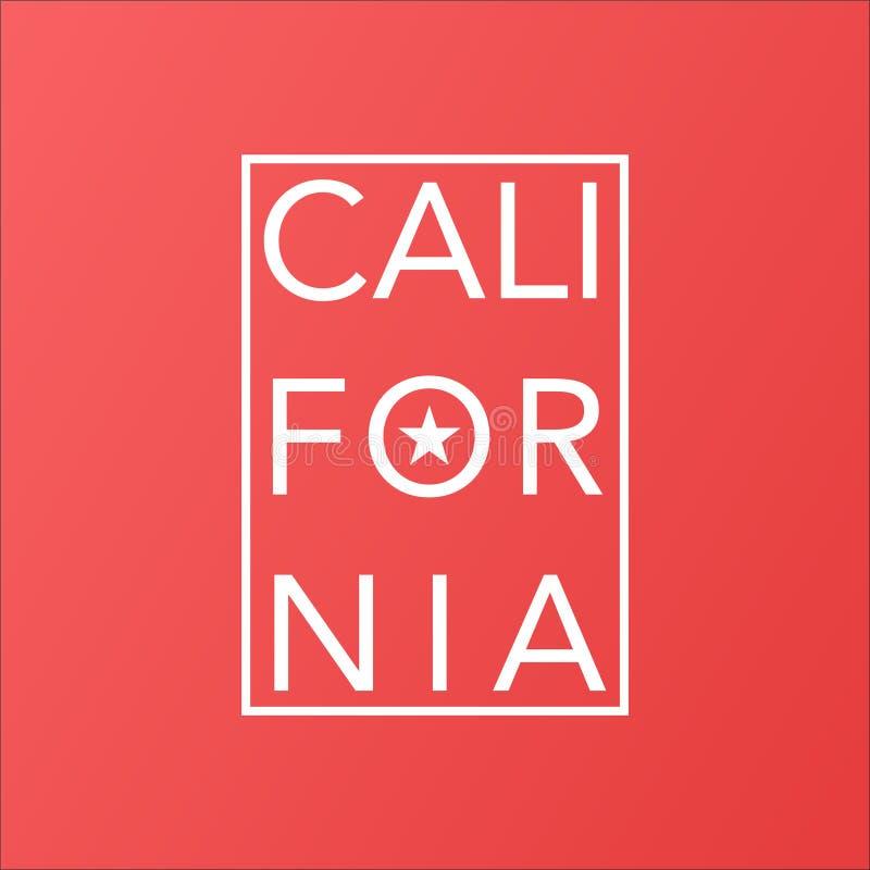 Estado de California en fondo moderno coralino de vida stock de ilustración