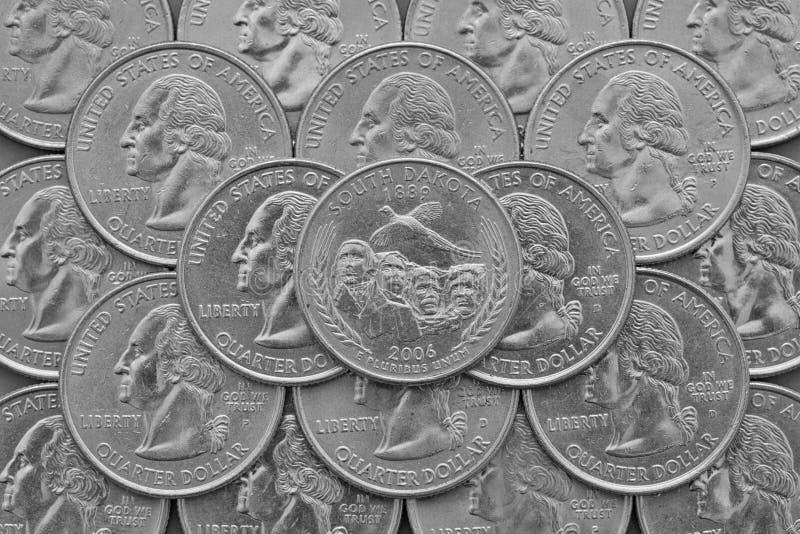 Estado de Dakota del Sur y monedas de los E.E.U.U. foto de archivo libre de regalías
