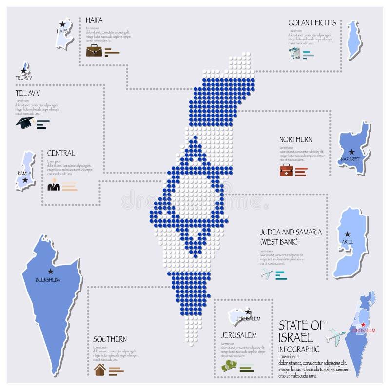 Estado de Dot And Flag Map Of de Israel Infographic ilustração stock
