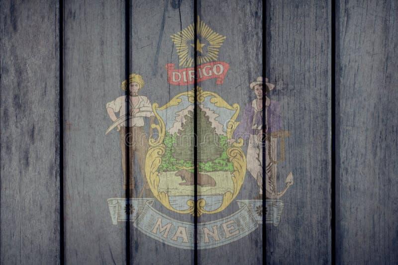 Estado de E.U. Maine Flag Wooden Fence ilustração stock