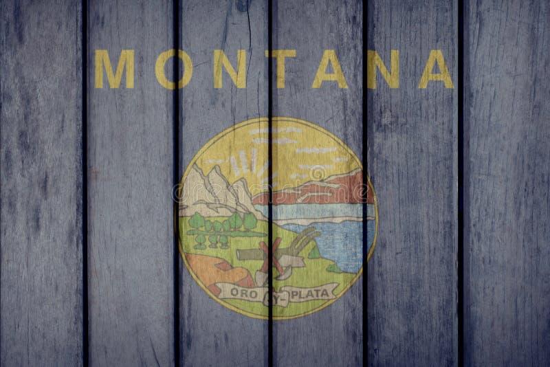 Estado de E.U. Montana Flag Wooden Fence ilustração do vetor