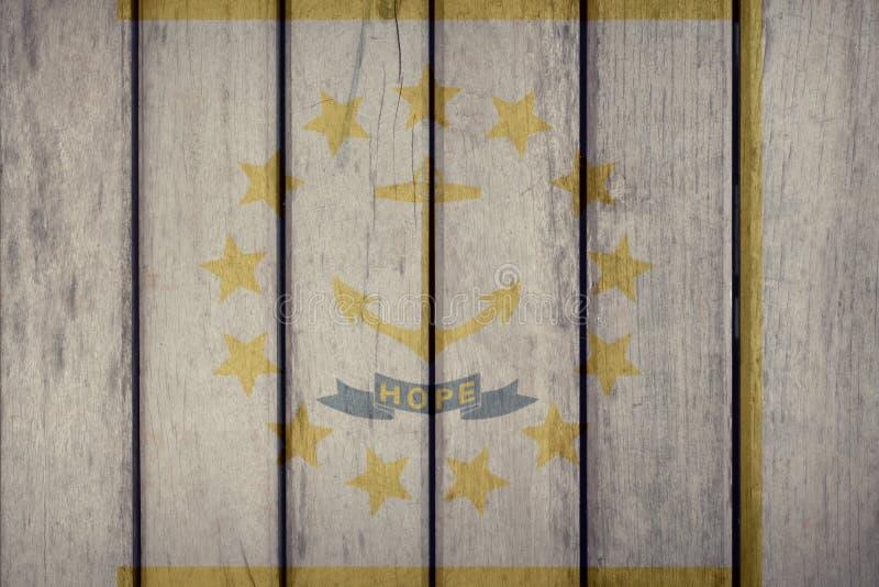 Estado de E.U. Rhode Island Flag Wooden Fence ilustração stock
