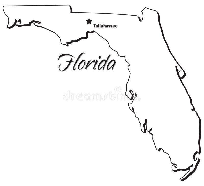 Estado de esboço de Florida ilustração do vetor