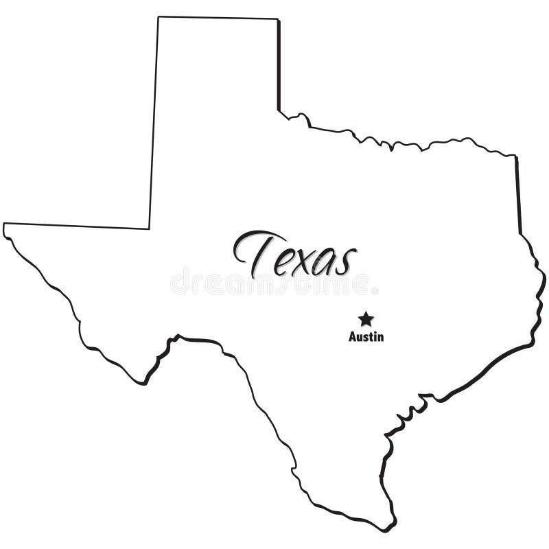 Estado de esboço de Texas ilustração stock