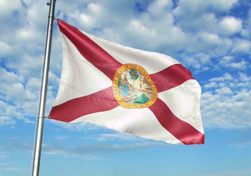Estado de Florida de bandeira do Estados Unidos que acena com o céu na ilustração 3d realística do fundo ilustração do vetor