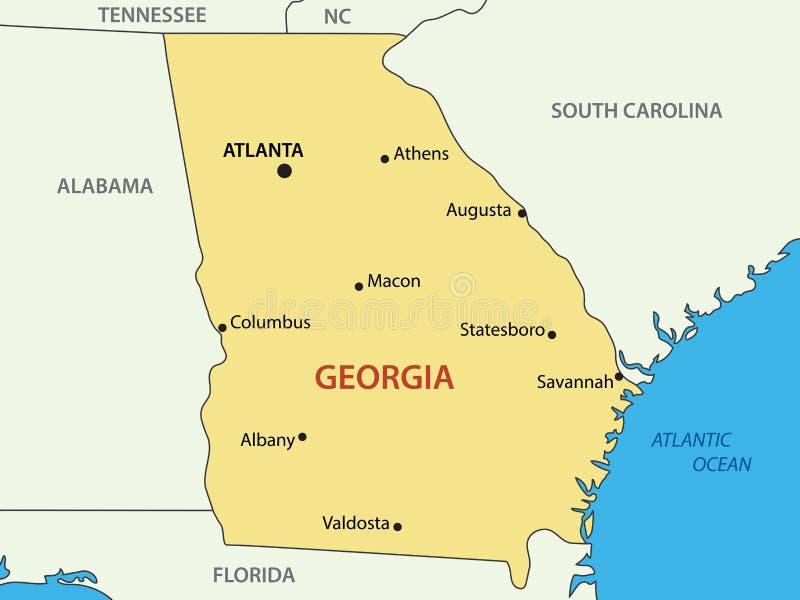 Estado De Georgia Los EEUU Mapa Del Vector Ilustración Del - Mapa de georgia