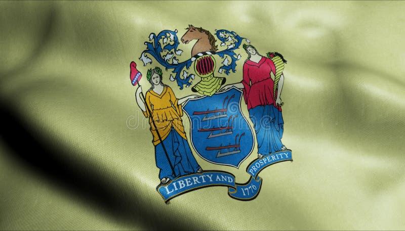 Estado de la bandera que agita del jersey en 3D stock de ilustración