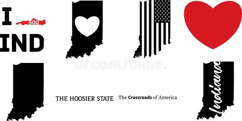 Estado de los E.E.U.U. del mapa del vector de Indiana stock de ilustración
