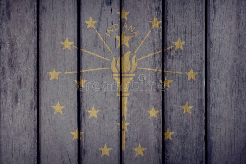 Estado de los E.E.U.U. Indiana Flag Wooden Fence imagen de archivo