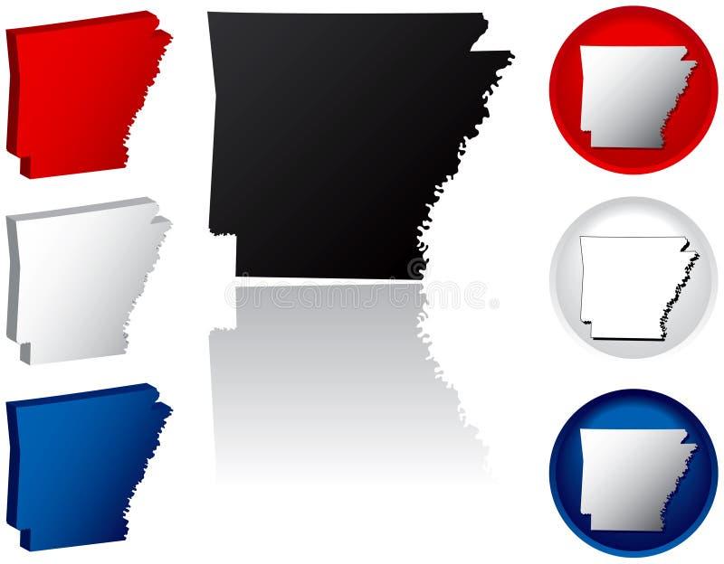 Estado de los iconos de Arkansas ilustración del vector