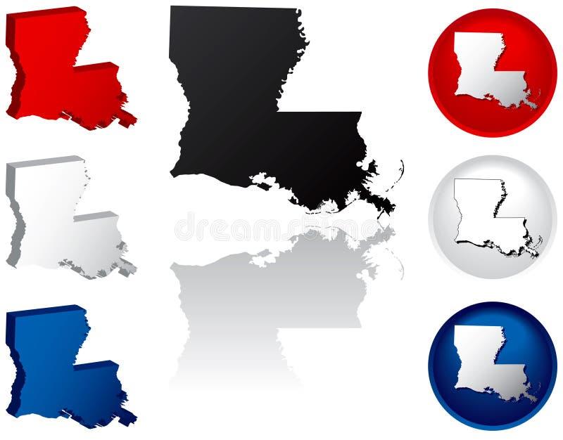 Estado de los iconos de Luisiana stock de ilustración