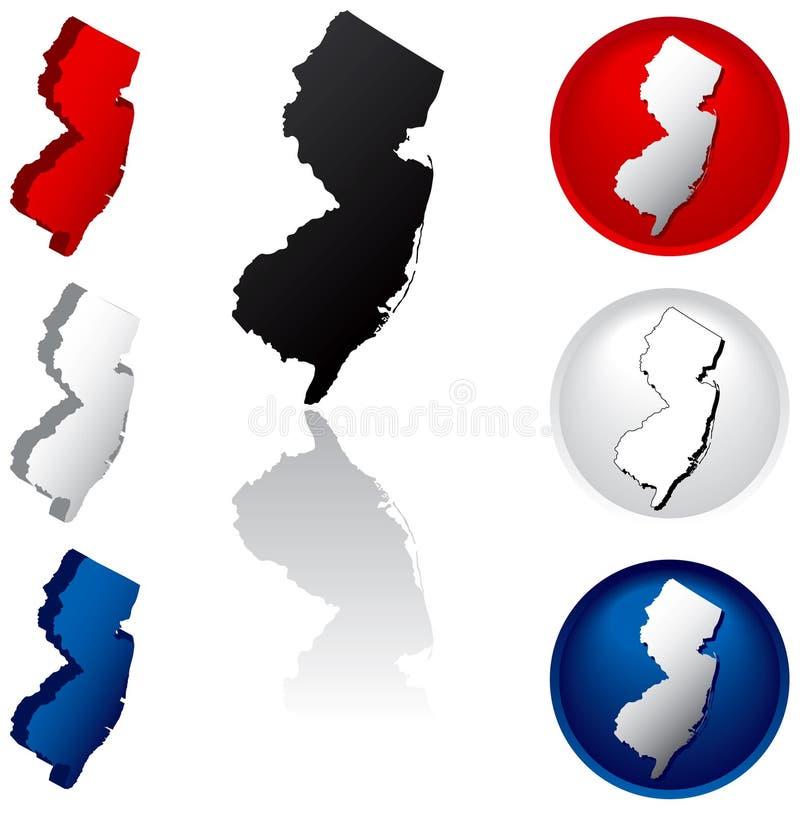 Estado de los iconos de New Jersey stock de ilustración