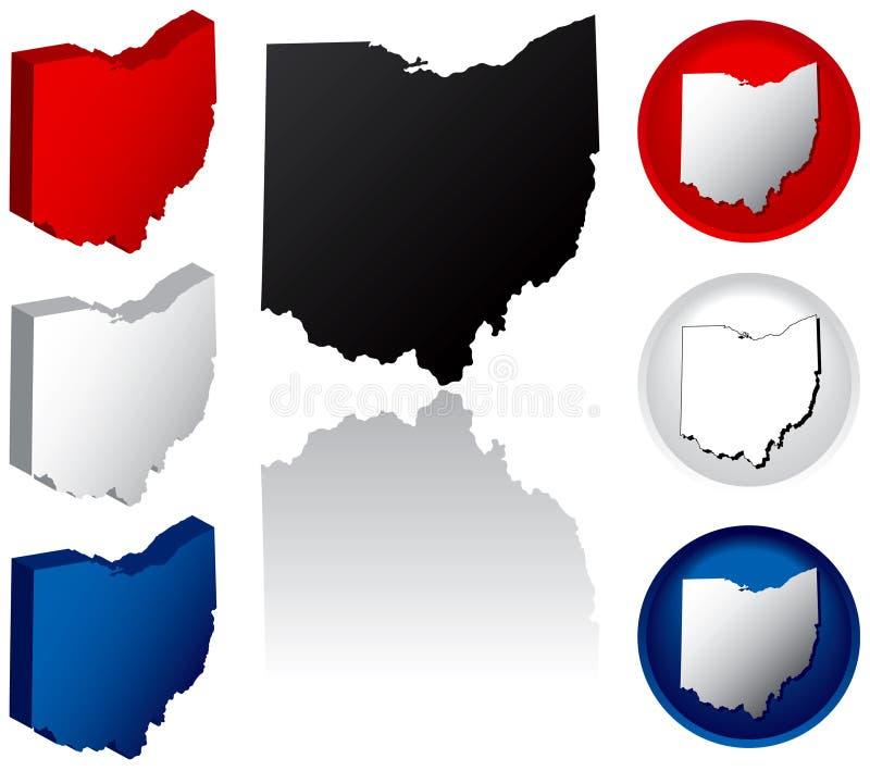 Estado de los iconos de Ohio stock de ilustración