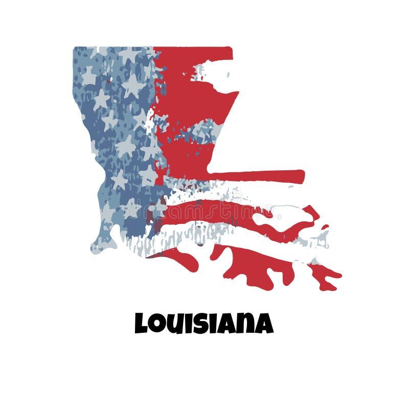 Estado de Luisiana Los Estados Unidos de América Vector Illustratio stock de ilustración