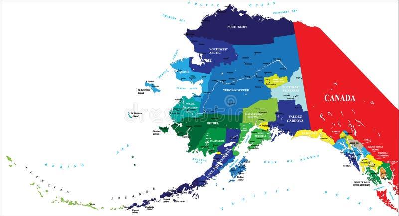 Estado de mapa de Alaska ilustração stock