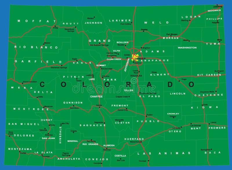 Estado de mapa político de Colorado ilustração stock